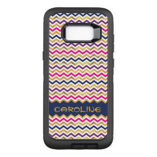 Trendy Chevron Pattern With Personal Name OtterBox Defender Samsung Galaxy S8+ Case