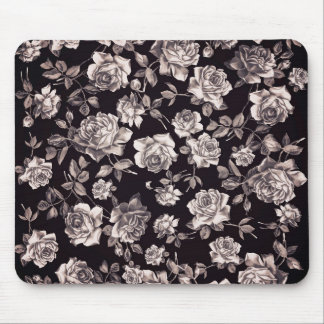 Trendy Chic Black & White Vintage Elegant Floral Mouse Pad