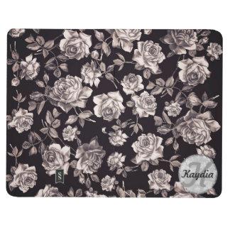 Trendy Chic Black & White Vintage Floral Monogram Journal