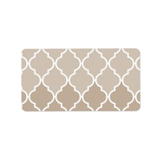Trendy Chic Girly Cream Brown Quatrefoil Pattern Address Label