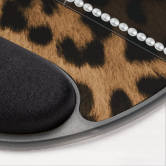 Trendy chic girly faux brown black leopard gel mouse pad