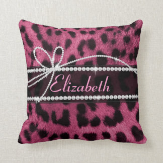 Trendy chic girly faux hot pink leopard animal fur throw pillow