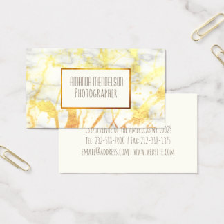 trendy chic gold marble business card