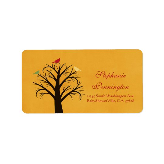 Trendy chic gold red birds avery address label
