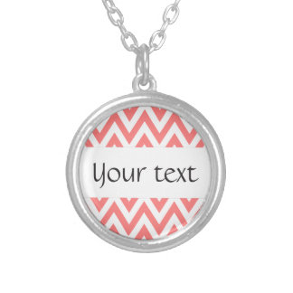 Trendy chic light coral chevron zigzag pattern personalized necklace