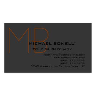 Trendy chic monogram black gray business card