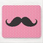 Trendy chic moustache pink polka dot dots pattern mousepads