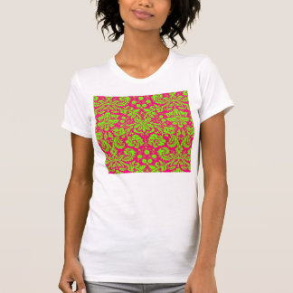 Trendy Chic Neon Damask Green on Pink Tshirts