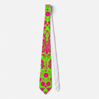 Trendy Chic Neon Damask Pink on Green Tie
