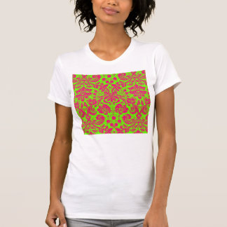 Trendy Chic Neon Damask Pink on Green T Shirt
