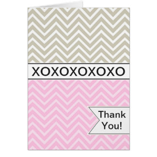 Trendy Chic Pink Chevron XOXO Thank You Card