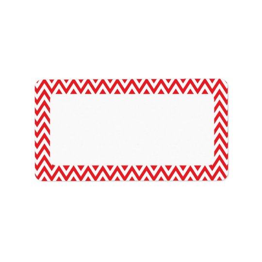 Trendy chic red chevron zigzag pattern address label
