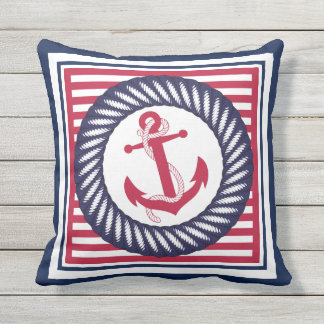 Trendy Chic Retro Boat Anchor Cute Stripes Pattern Outdoor Cushion
