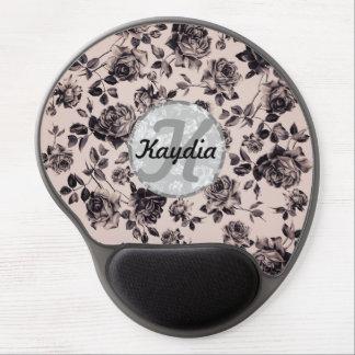 Trendy Chic White & Black Vintage Floral Monogram Gel Mouse Pad