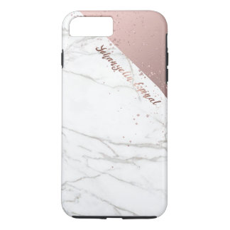 Trendy Chic White Marble Rose Gold Personalized iPhone 8 Plus/7 Plus Case