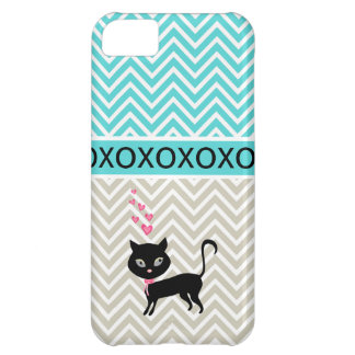 Trendy Chic XOXO Chevron Grey & Blue iPhone 5 Case