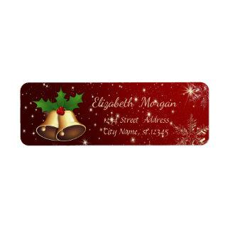 Trendy Christmas Snowflakes,Gold Christmas Bell Return Address Label