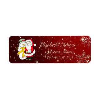 Trendy Christmas Snowflakes,Snowman,Santa Claus Return Address Label