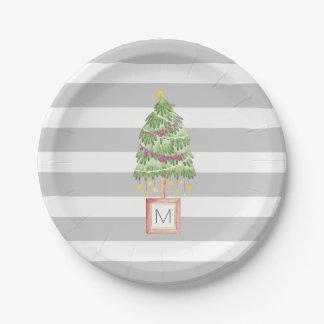 Trendy Christmas Tree monogram, holiday decor Paper Plate