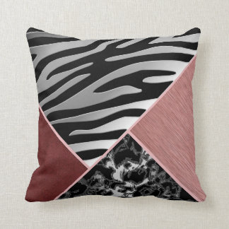 Trendy Chrome Suede Silver Black Pink Animal Print Throw Pillow