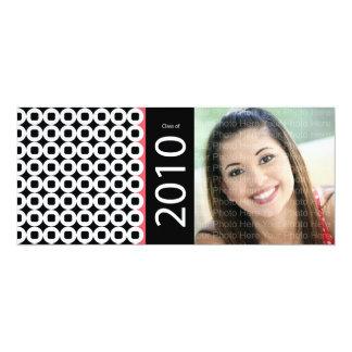 Trendy Circle Square Pattern: Black & Pink 10 Cm X 24 Cm Invitation Card