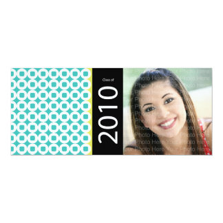 Trendy Circle Square Pattern: Blue & Chartreuse 10 Cm X 24 Cm Invitation Card