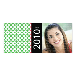Trendy Circle Square Pattern: Green 10 Cm X 24 Cm Invitation Card