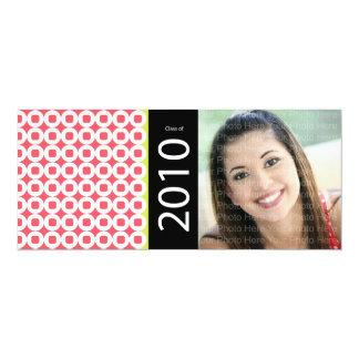 Trendy Circle Square Pattern: Pink 10 Cm X 24 Cm Invitation Card