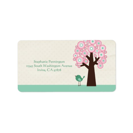 Trendy circle tree and bird avery address label
