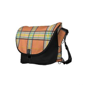 Trendy Classic Woven Plaid Retro Lime & Orange Messenger Bag