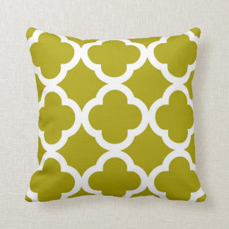 Trendy Clover Pattern in Chartreuse Green Cushion