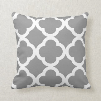 Trendy Clover Pattern in Grey and White Cushion