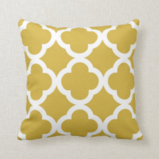 Trendy Clover Pattern in Mustard and White Cushion
