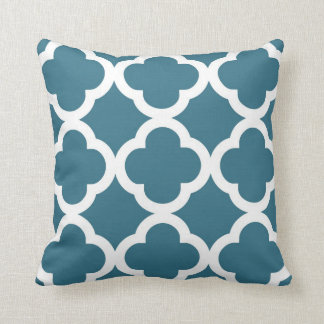 Trendy Clover Pattern in Teal Blue and White Cushion