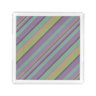 Trendy Colored Stripes Pattern Acrylic Tray