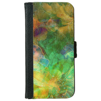 Trendy Colorful Abstract Floral Collage iPhone 6 Wallet Case