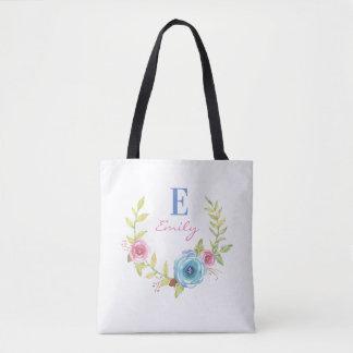 Trendy Colorful Floral Monogram Tote Bag