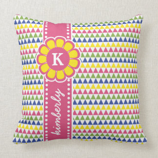 Trendy Colorful Geometric Pattern Flower Monogram Cushion
