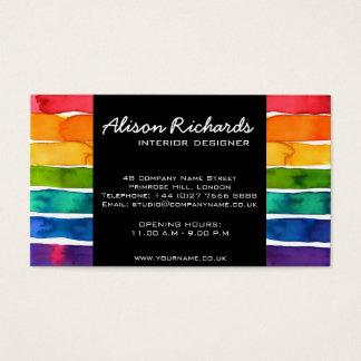 Trendy Colorful rainbow stripes interior design Business Card
