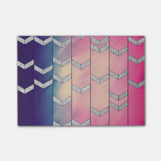 Trendy Colorful Watercolor Arrow Zig Zag Glitter Post-it Notes