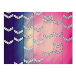 Trendy Colorful Watercolor Arrow Zig Zag Glitter Postcards