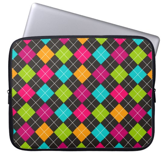 Trendy Colourful Argyle Pattern Laptop Sleeve