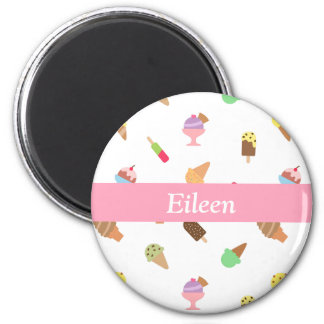 Trendy Colourful Ice Cream Pattern For Her 6 Cm Round Magnet