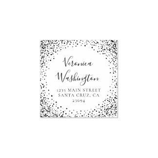 Trendy Confetti Border Wedding Return Address Rubber Stamp