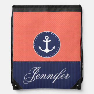 Trendy Coral and Navy Blue Anchor Personalized Drawstring Bag