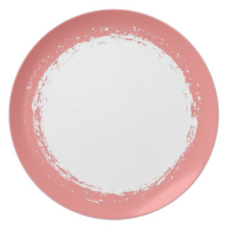 Trendy Coral And White Centered | Melamine Plate