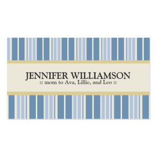 Trendy Customized Mommy Calling Cards Stripes : 05 Pack Of Standard Business Cards
