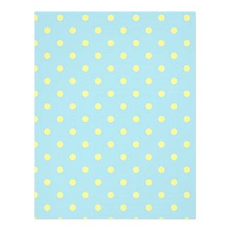 Trendy Cute  Aqua Yellow Polka Dots Pattern 21.5 Cm X 28 Cm Flyer