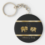 Trendy cute black /golden elephant in love basic round button key ring