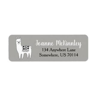 Trendy Cute Black & White Llama Sketch Return Address Label